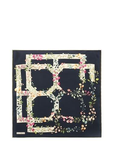Beymen 101602587 Çiçek Desenli Logolu Kadın Ipek Fular Lacivert